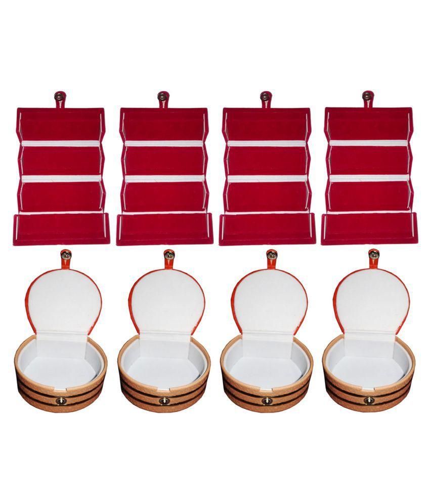Sabita Combo 4 pc red ear ring folder and 4 pc bangle box