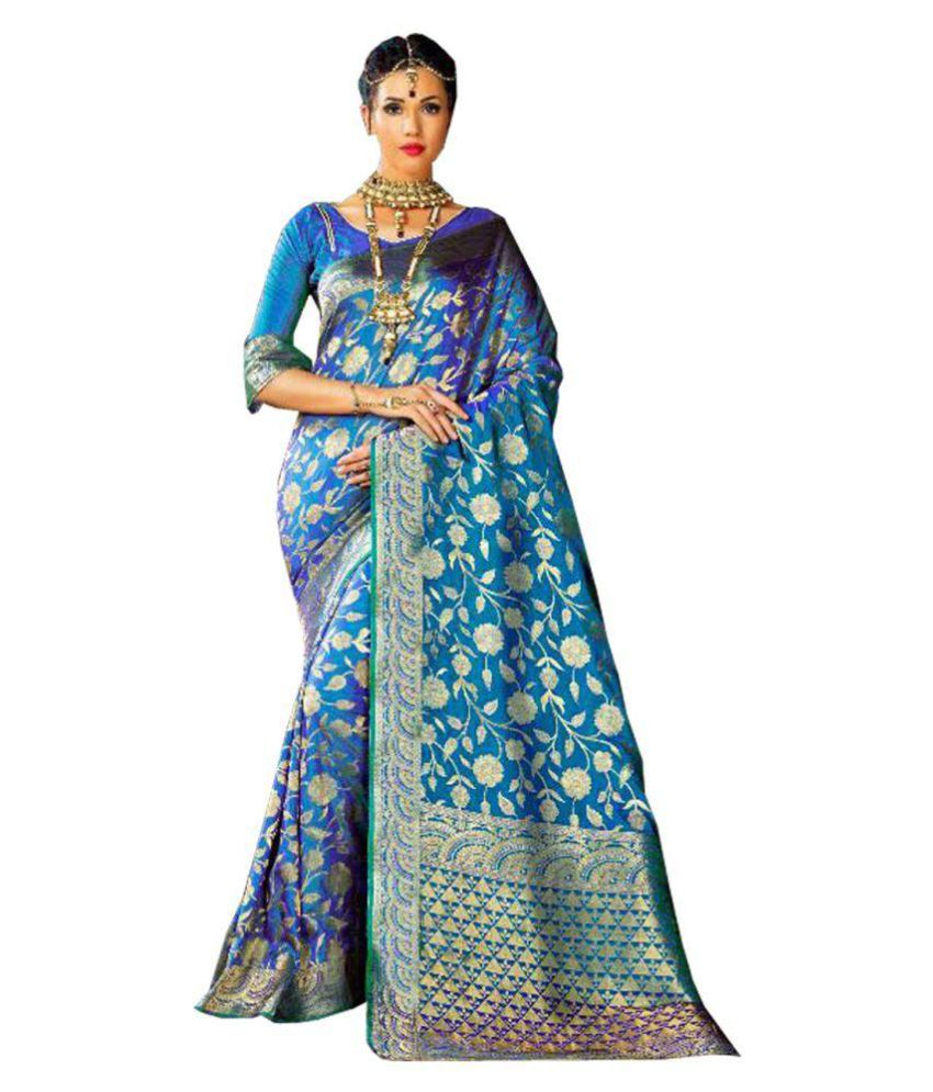 Owomaniya Blue Silk Saree