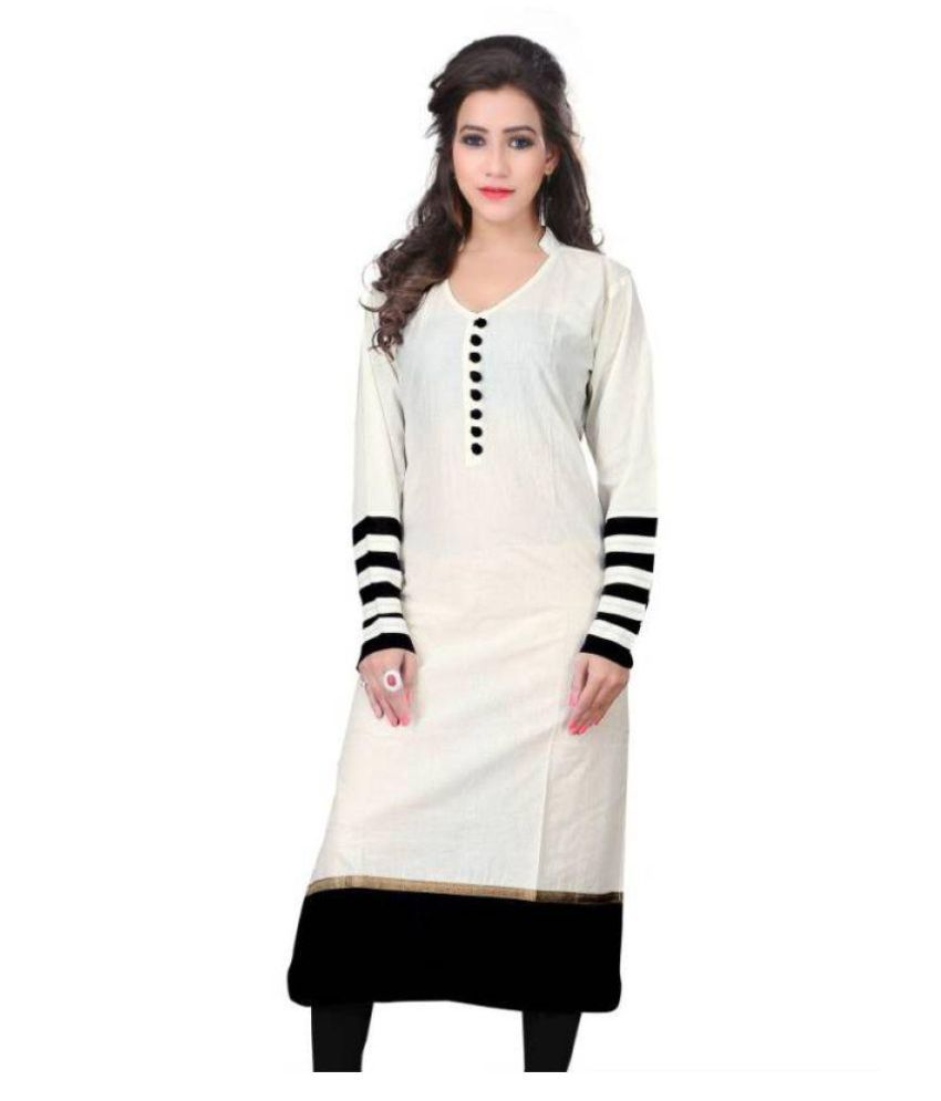 SOFTIEONS E-COMMERCE White Cotton Straight Kurti