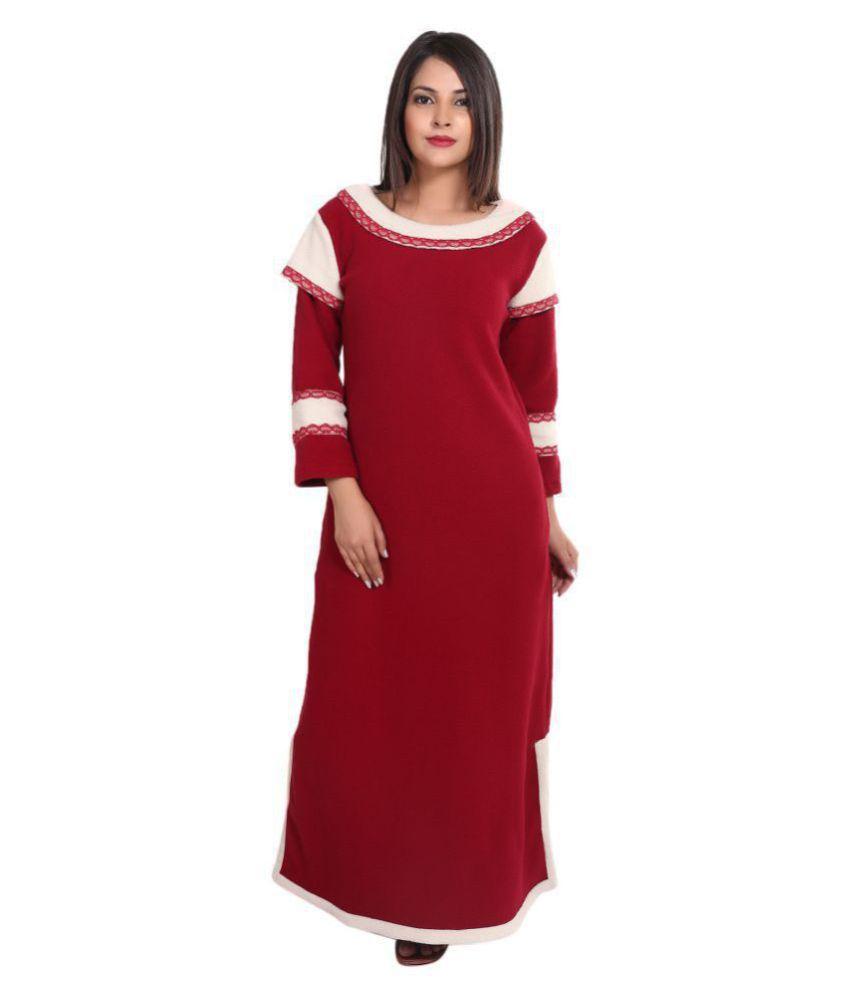 9TEENAGAIN Brush fleece Nighty & Night Gowns - Multi Color