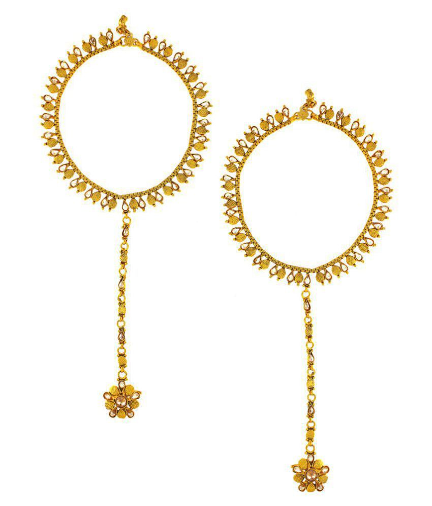 Anuradha Art Golden Finish Styled With Sparkling Stone Attached Designer Toe-Ring Traditional Payal/Anklet For Women/Girls