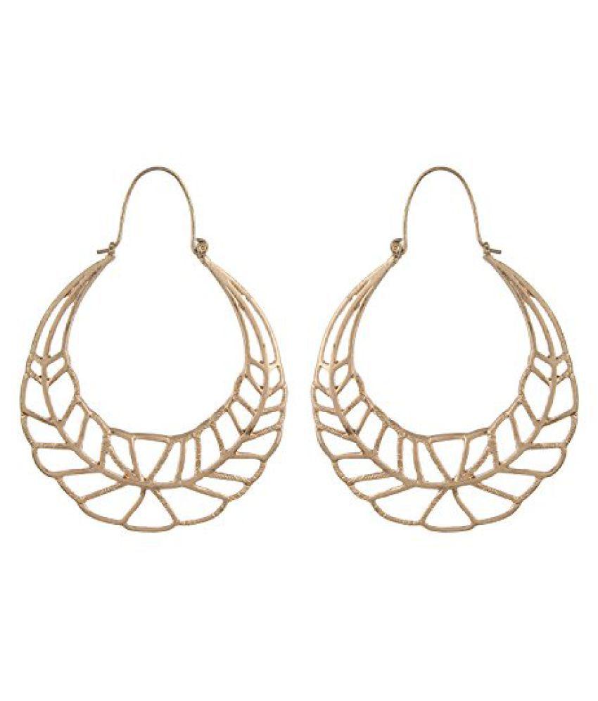 Fayon Designer Modern Golden Leaf Shape Hoop Earring