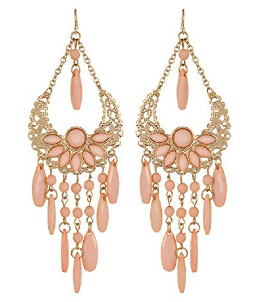 Fayon Fashion Statement Peach Gemstone Chandelier Earrings