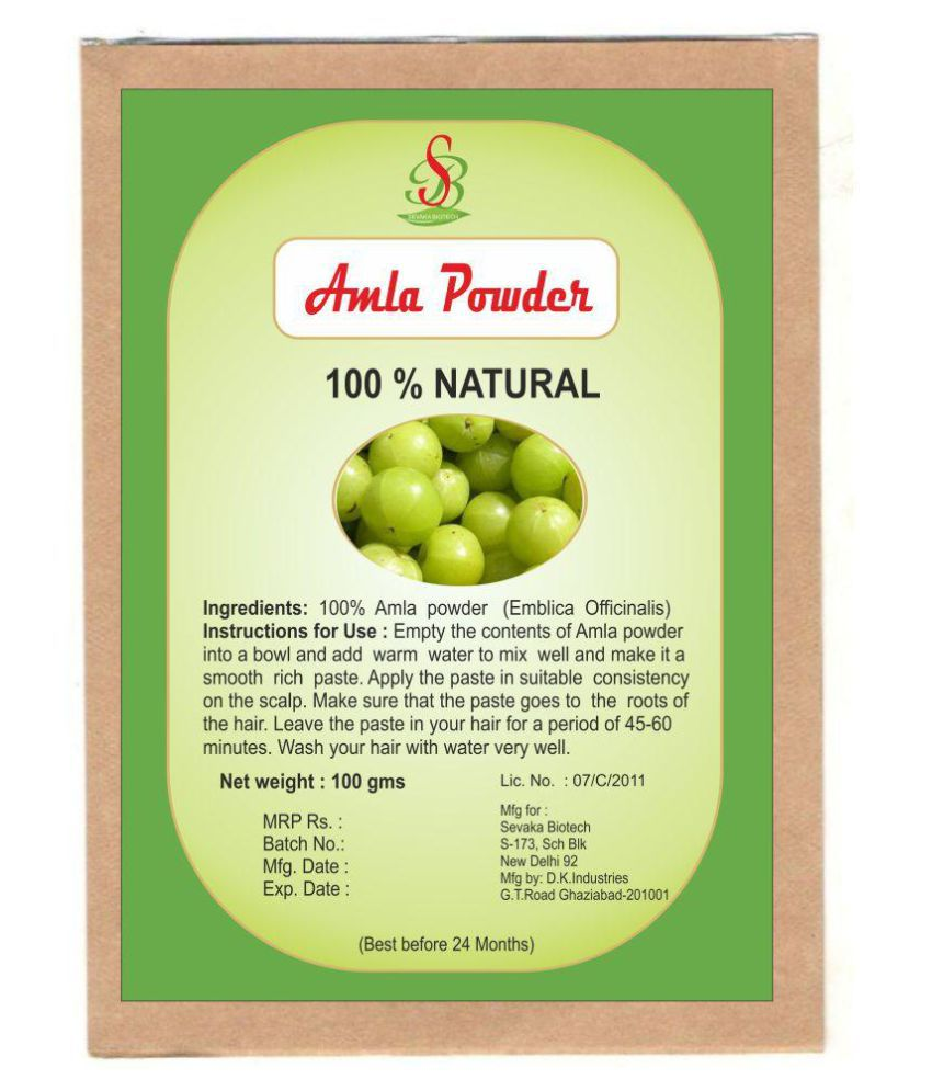 Sevaka Biotech Amla Powder Semi Permanent Hair Color Black Black 100 gm