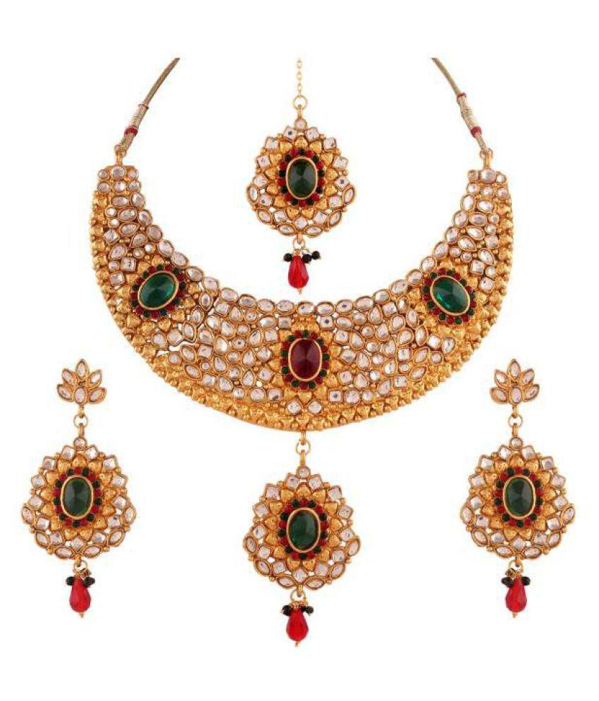 Variation Sparkling Designer Necklace Set With Maang Tika