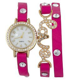 Nubela Pink Colour Diamond Studded Love Bracelet For Valantine Analog Watch - For Girls And Women