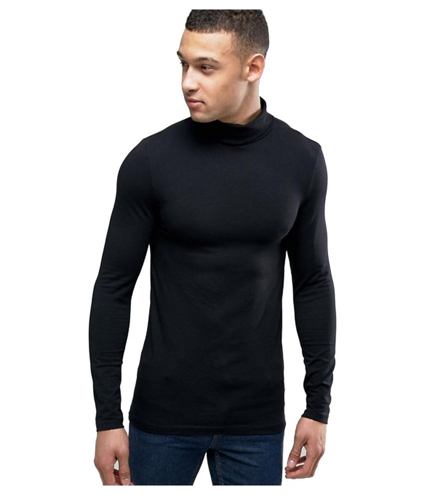 PAUSE Black High Neck T-Shirt Pack of 1