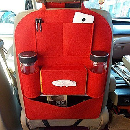 VRT Multicolored Multi Pocket Organizer For Rear Red - Single Piece