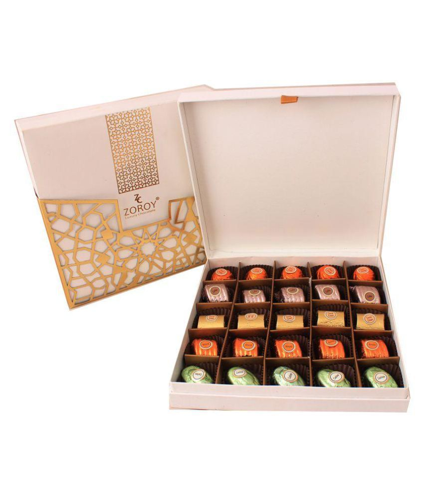 Zoroy Luxury Chocolate leather box of 25 chocolates Assorted Box Valentines day love gift 250 gm