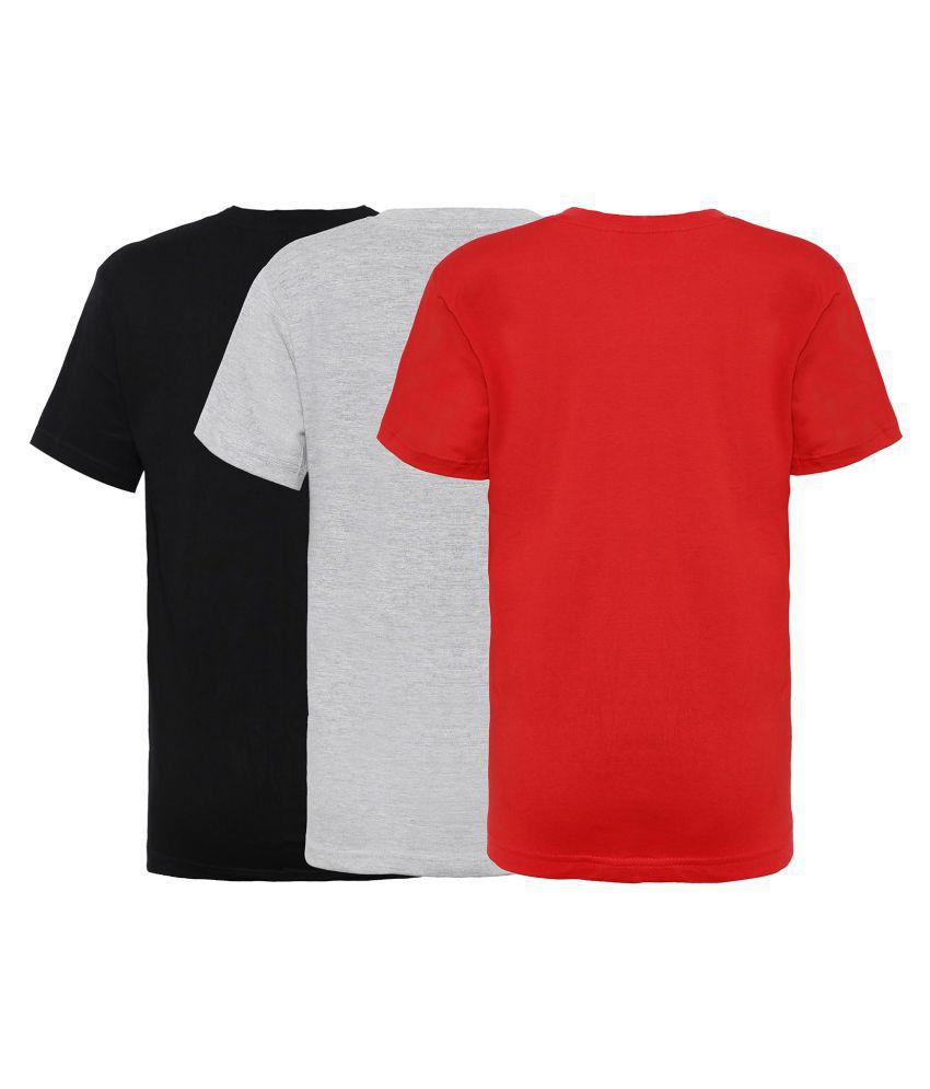 8f790446 ... Punkster 100% Cotton Black, Grey Melange, Red T-Shirt Combo Pack For ...