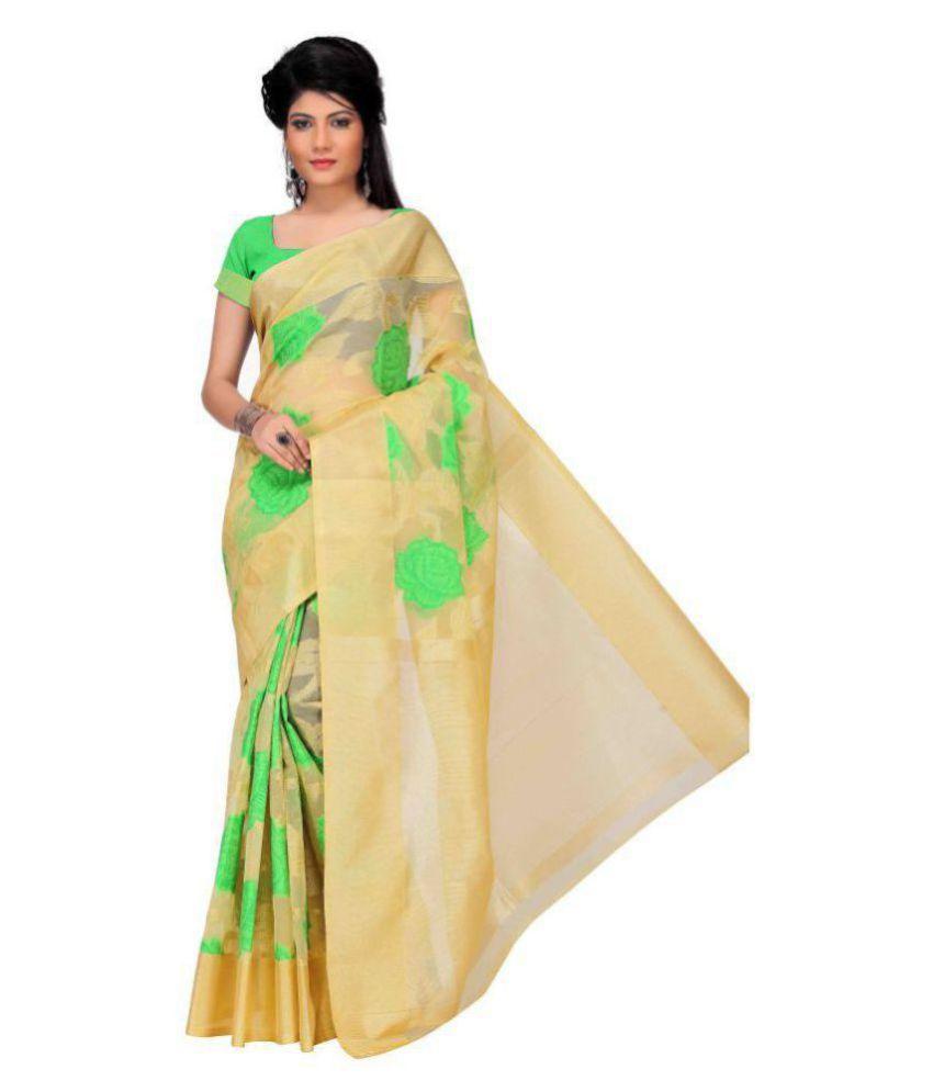 Just Fashion Green and Beige Banarasi Silk Saree