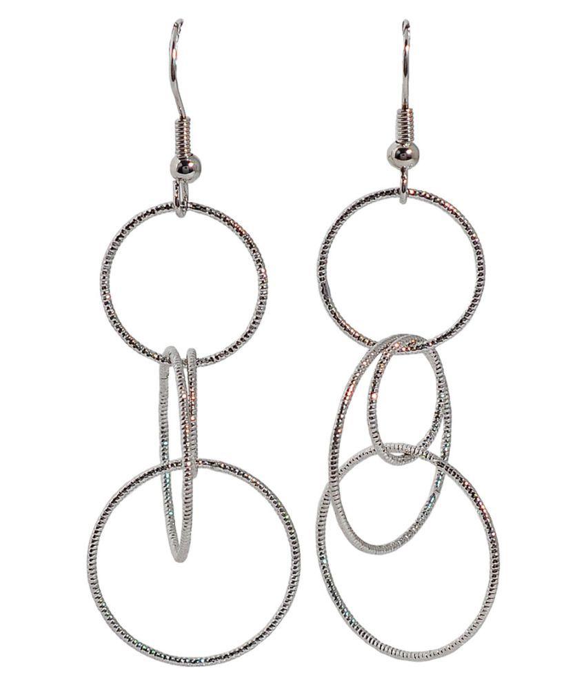 Maayra Women Earrings Partywear Alloy Dangler Drop Silver Designer Jewellery