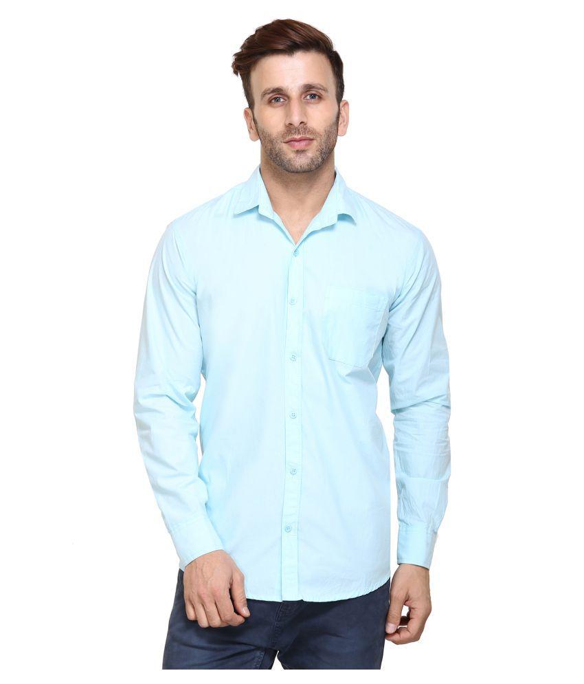 Maggivox Blue Casual Regular Fit Shirt