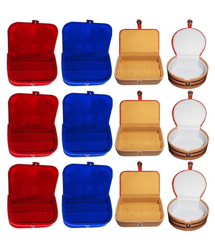 Phoenixfaso Combo 3 pc blue earring box 3 pc red ear ring box 3 pc brown earring folder 3 pc bangle jewelry vanity case