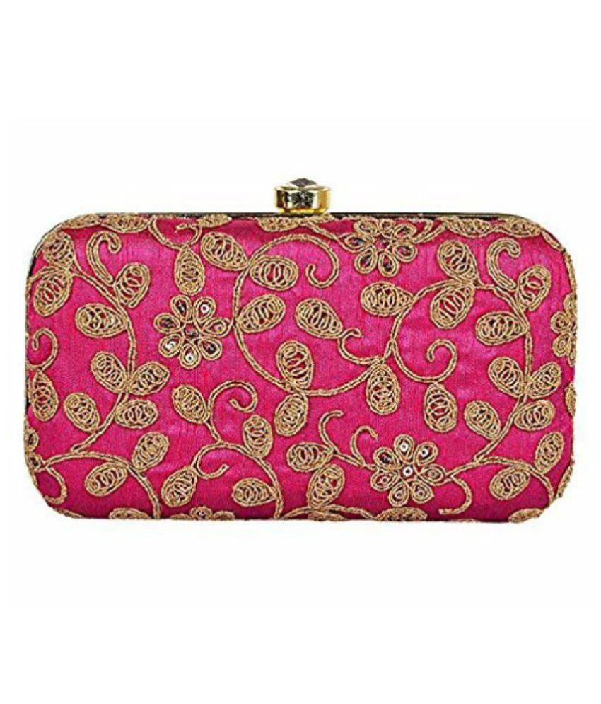 Annita Pink Fabric Box Clutch
