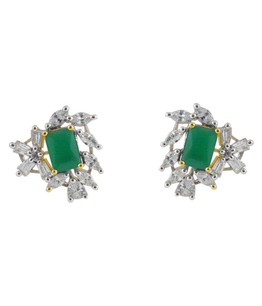 Rejewel Green CZ Stone Stud Earrings