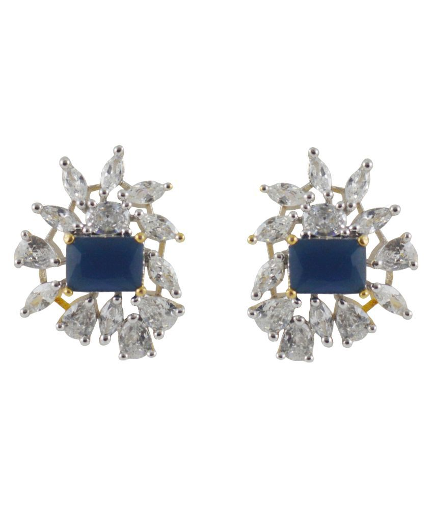 Rejewel Striking Stud Earrings With Blue Stone
