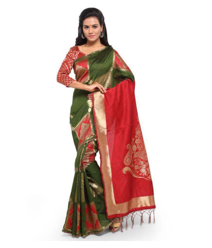Yadu Nandan Fashion Green Cotton Silk Saree