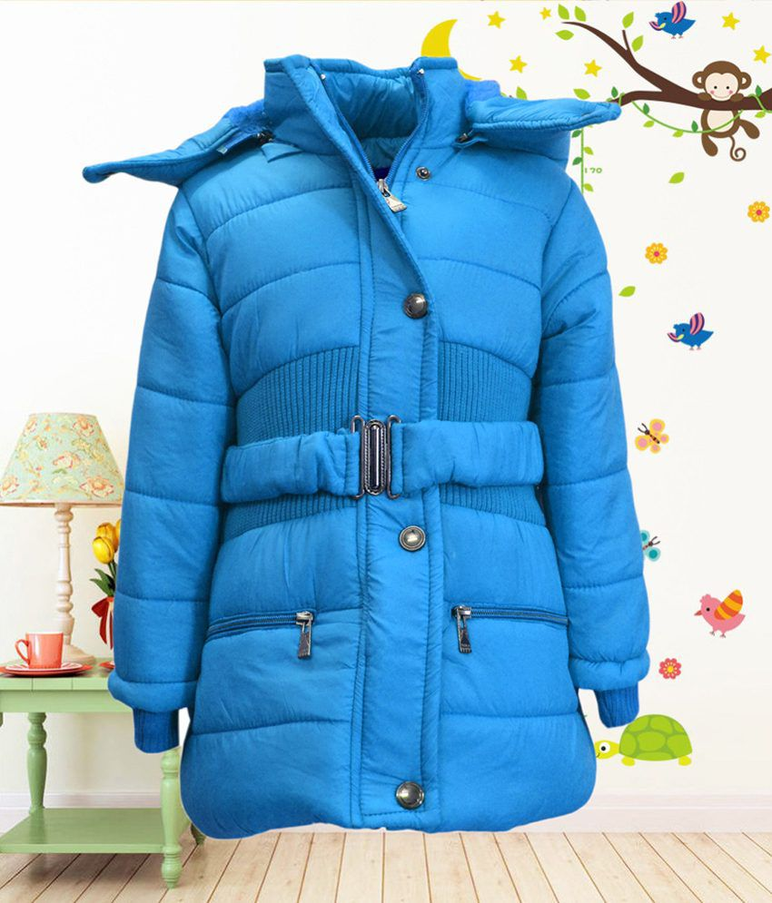 Come In Kids Girls Full Sleeve Winterwear Hooded Full Zipper and Button Closure Solid Quilted Jacket
