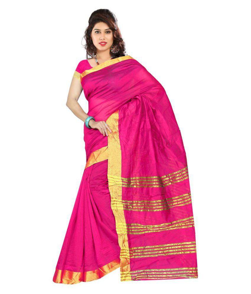 PR Creation Pink Cotton Silk Saree