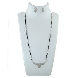 Anuradha Art Silver Finish Studded With American Diamonds Simple & Classy Mangalsutra For Women