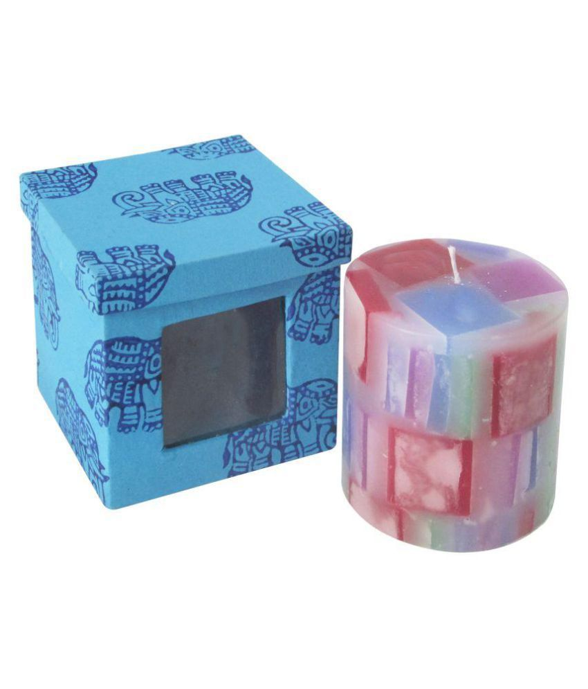 Indha Craft Multicolour Pillar Candle - Pack of 1
