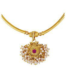 Shining Jewel 24K Gold Plated Traditional Thushi Pipe Necklace For Women (SJ_2294)…