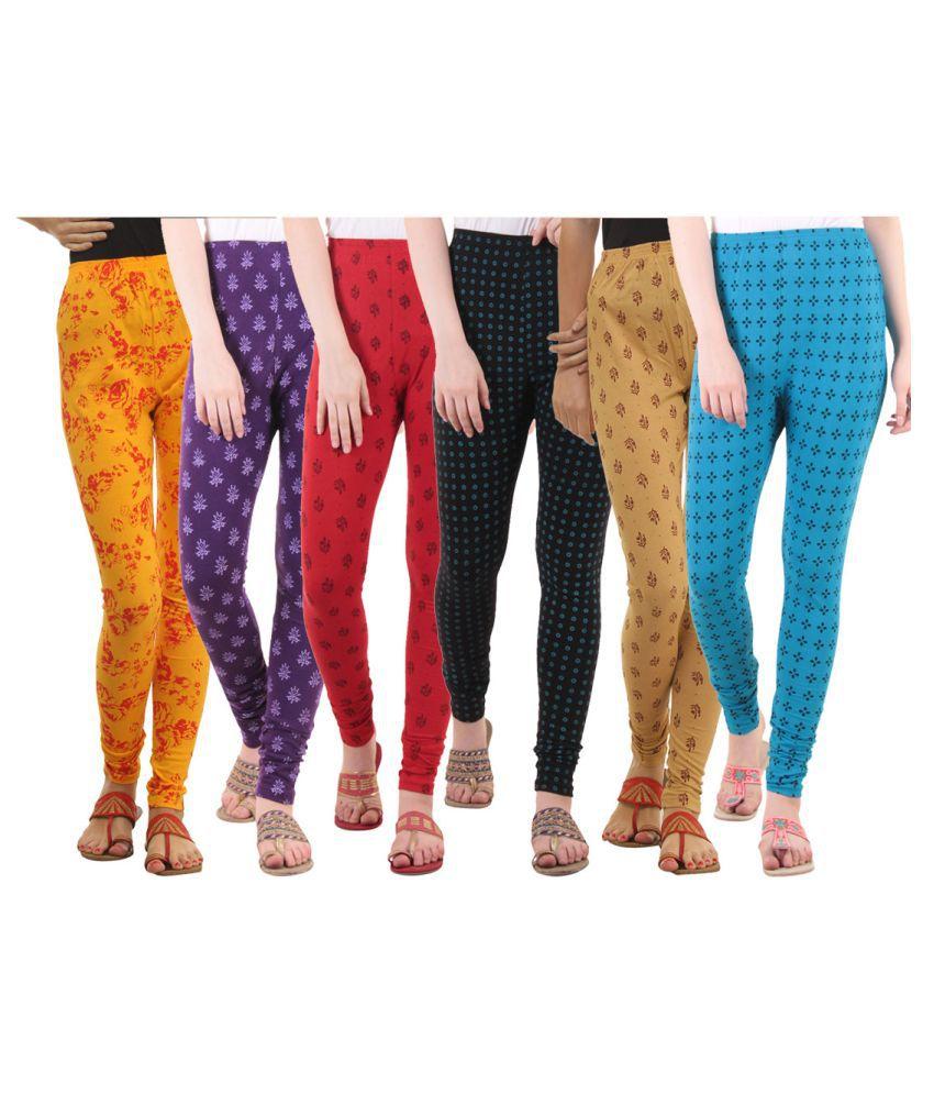 Fasha Cotton Lycra Pack of 6 Leggings