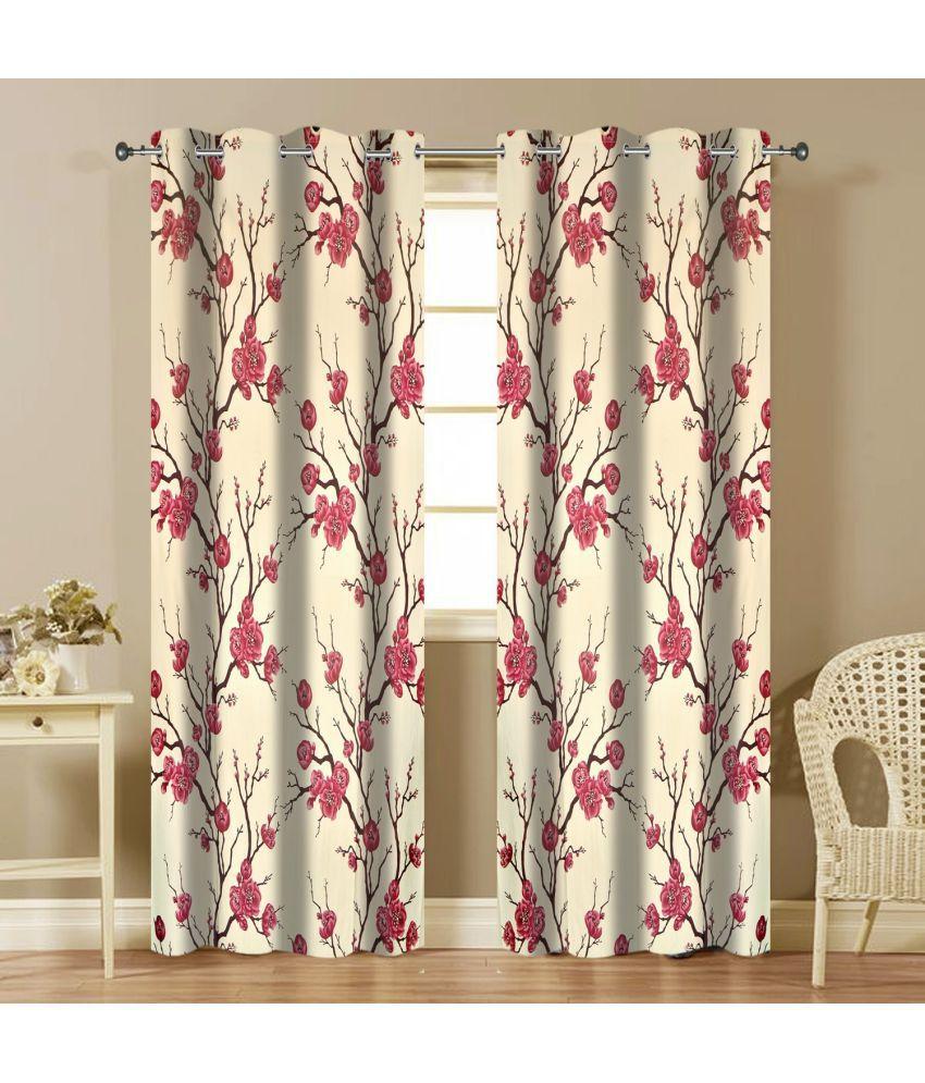 Shri Shyam Furnishing Set of 2 Window Eyelet Curtains Floral Maroon
