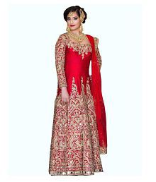 Quick View. Shreya Creations Red and Beige Taffeta Anarkali Semi-Stitched  Suit 3a8156a93