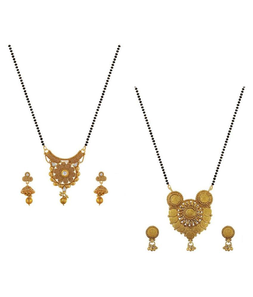 Aabhu Traditional Combo of 2 Mangalsutra with Chain and Earrings Jewellery Set for Women