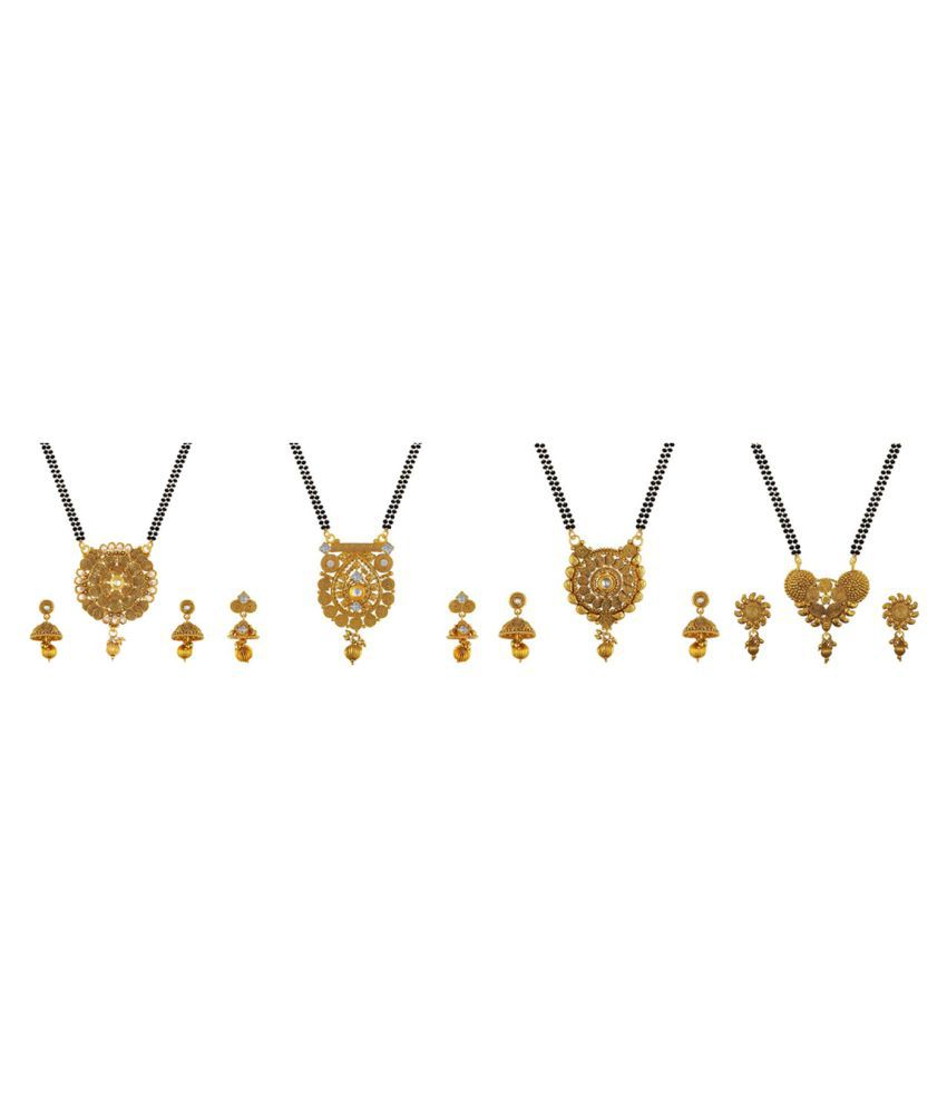 Aabhu Traditional Combo of 4 Mangalsutra with Chain and Earrings Jewellery Set for Women