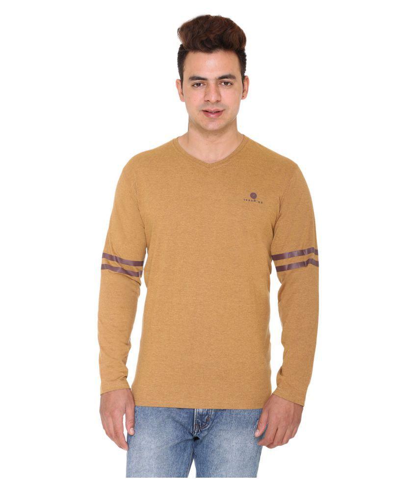 Aye Tees Beige V-Neck T-Shirt Pack of 1