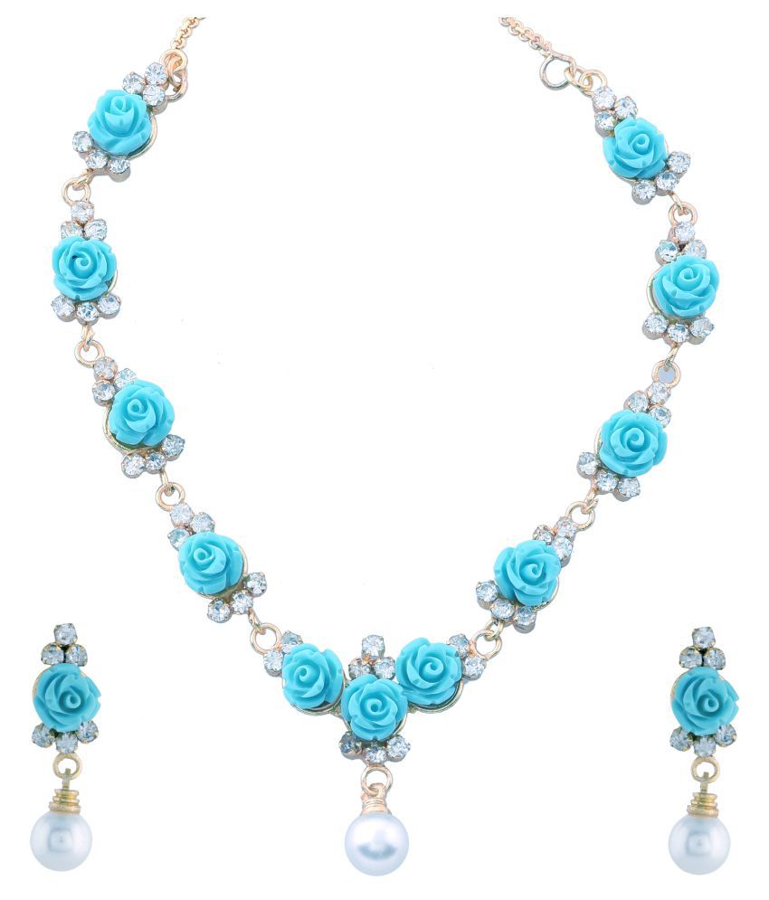 Awesome Collections Beautiful Flower Coral Necklace Set With Earrings ( Blue )