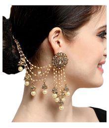 Aadita Bahubali Design Heavy Earrings with Hair Chain for Women