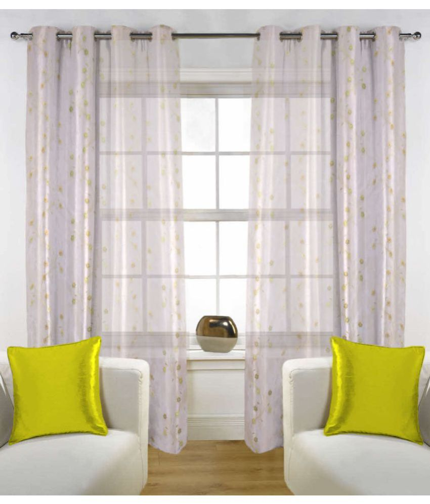 Fabutex Set of 2 Door Eyelet Curtains Floral Off White