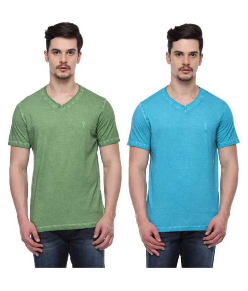 ODAKA Multi V-Neck T-Shirt Pack of 2