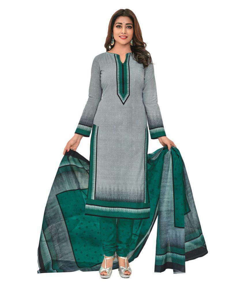 Pranjul Grey Cotton Dress Material
