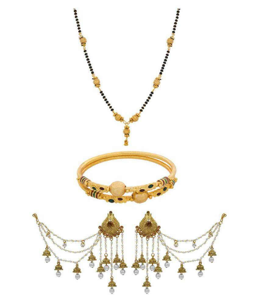 The Luxor Traditional Gold Plated Bahubali Jhumki Earrings with Mangalsutra and Bangles Combo