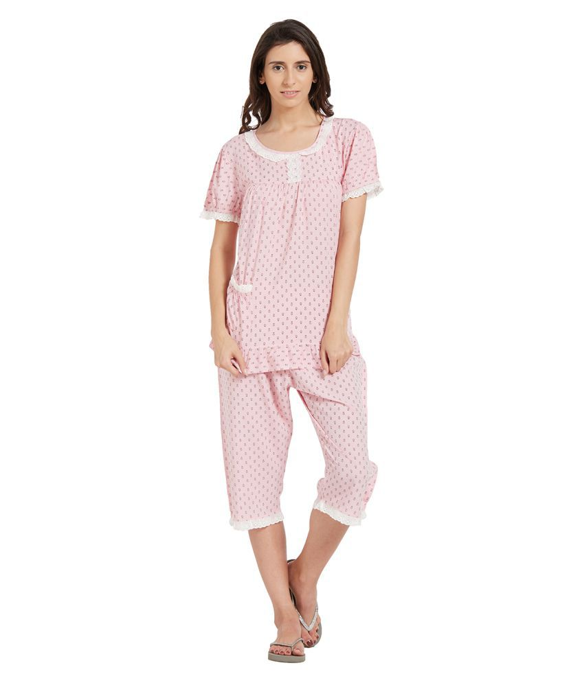 Blush By PrettySecrets Poly Cotton Nightsuit Sets - Multi Color