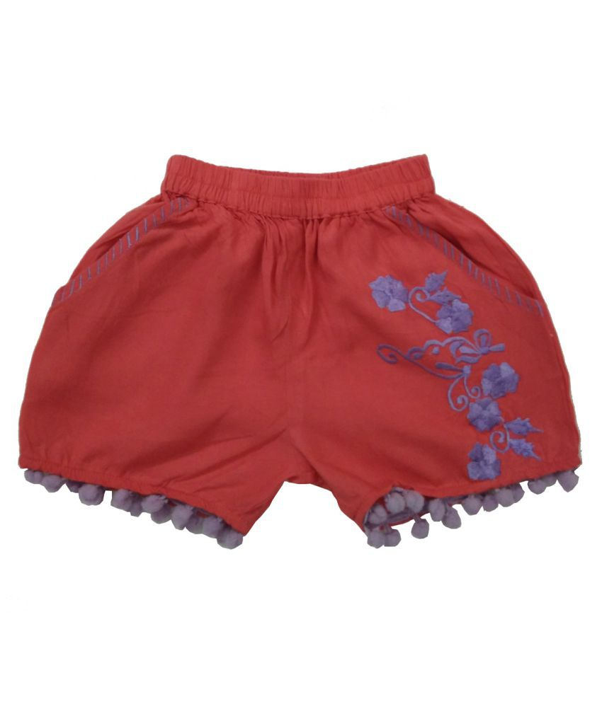 Embroidery Short With Pom Pom Lace Hem