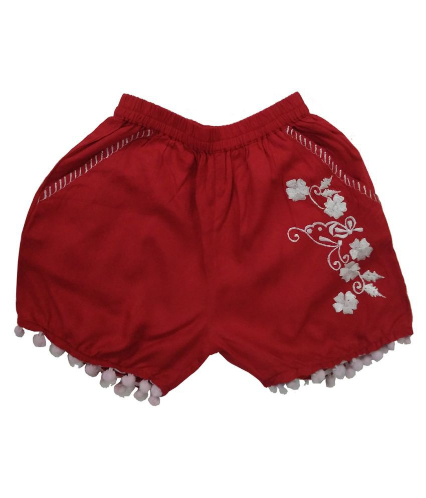 Embroidery Short With Pom Pom Lace Hem