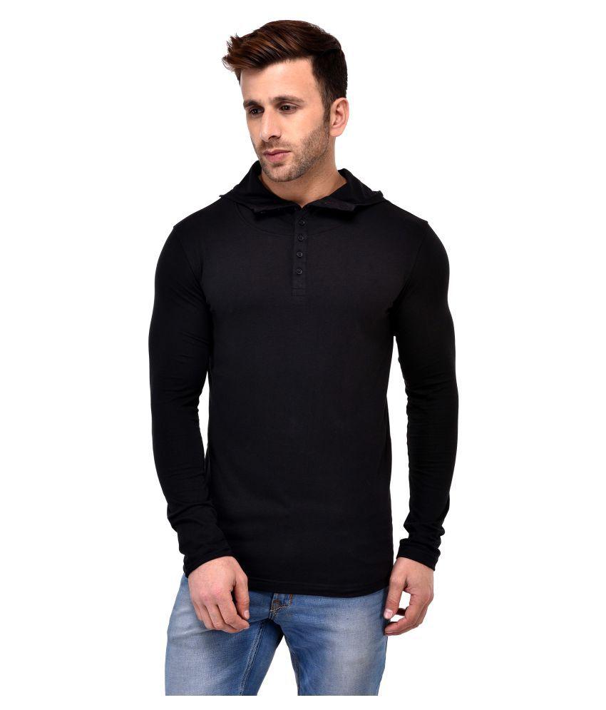 GESPO Black Hooded T-Shirt Pack of 1
