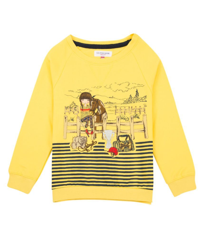 US Polo Girls Yellow Casual Sweat Shirt