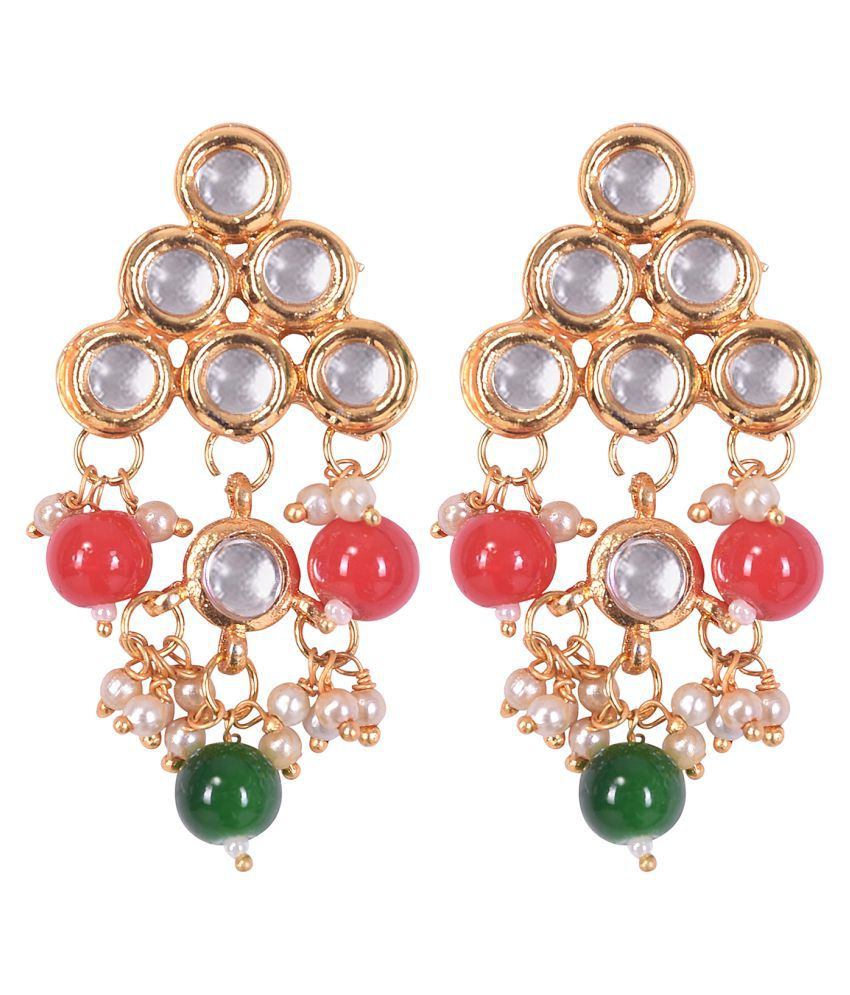 VALAGO Fashion Traditional Pearl Kundan Earrings For Women & Girls