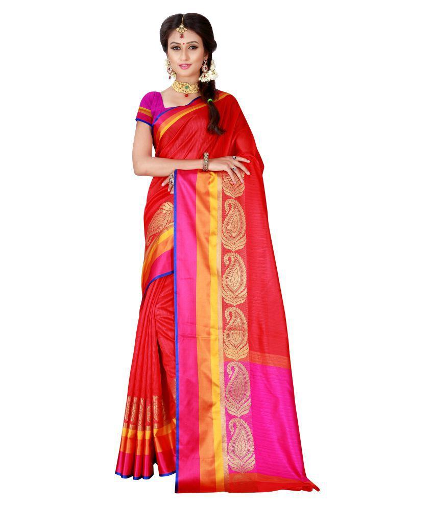 Vivaa Fashion Red Banarasi Silk Saree