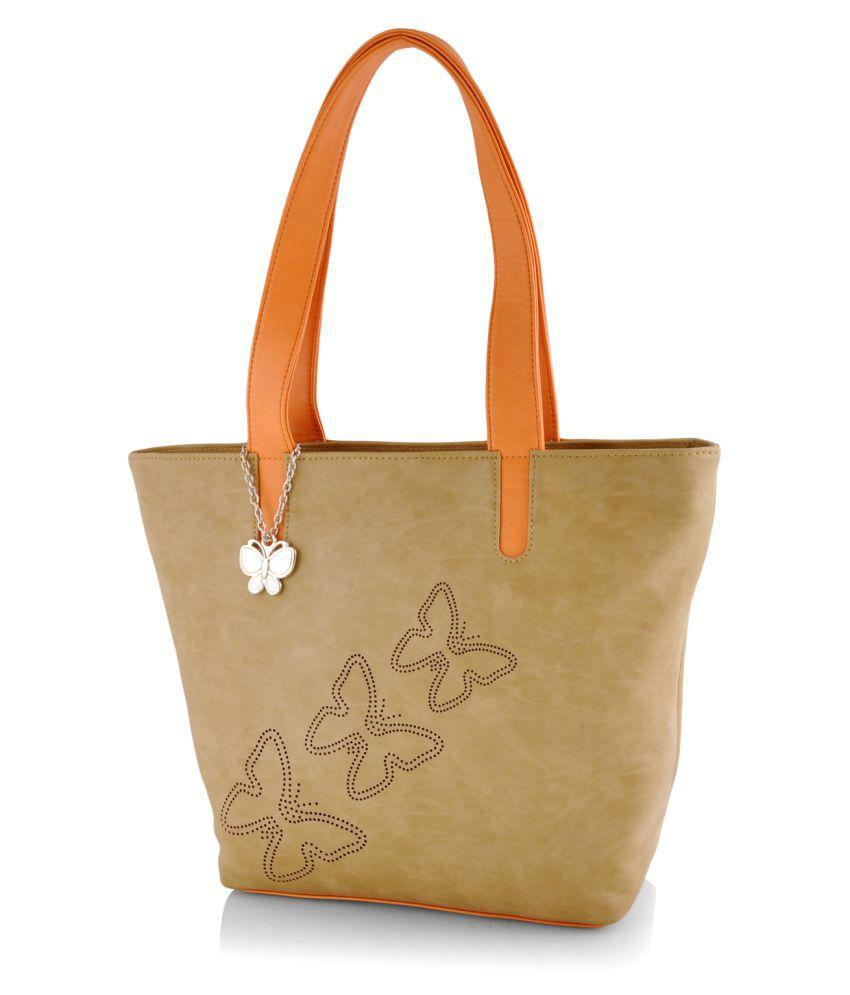 Butterflies Beige P.U. Shoulder Bag