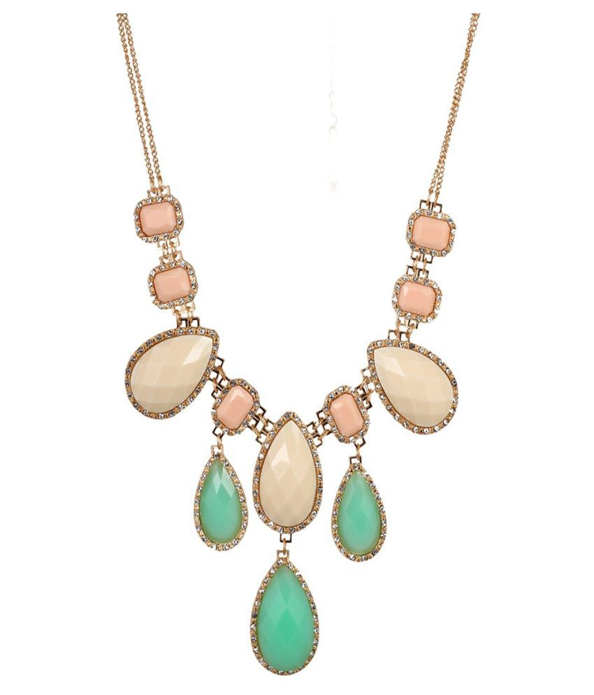Fayon Party Style Diva Cream and Green Stone Bubble Lariat Necklace