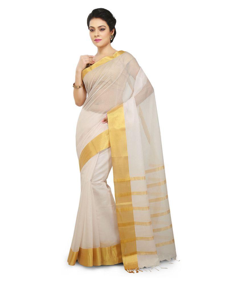 Pratamika Off White Silk Saree