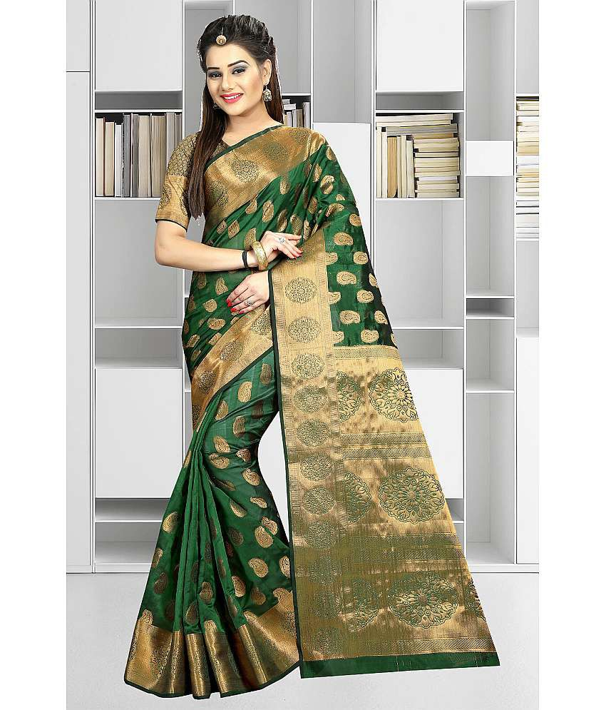 Gazal Fashions Green Banarasi Silk Saree
